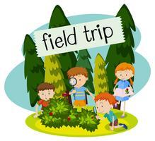 Viagem de campo da escola na natureza