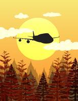 Escena de silueta con avión volando sobre bosque de pinos