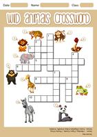 Wild animals crossword concept