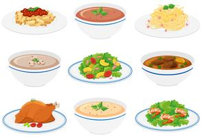 Different kinds of food on plates and bowls