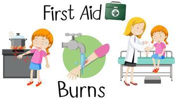 Una niña con quemadura de brazo de primeros auxilios.