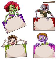 Zombies with empty signboards vector