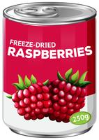 A tin of freeze dried raspberries
