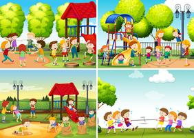 A Set of Children at Playground vector