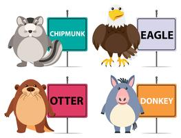 Animal Banners on White Background