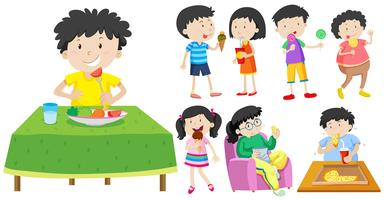Children eating healthy and unhealthy food
