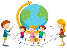 Children skipping infront of globe