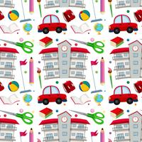 School objects seamless pattern