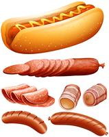 Different kind of meat and hotdog