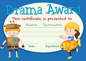 Conceito de certificado de prêmio de drama