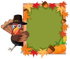 Turkey thanskgiving theme border vector
