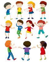 Conjunto de niños bailando vector