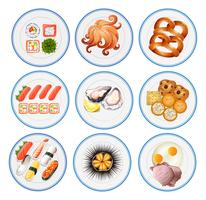 Sushi and other types of food on plates