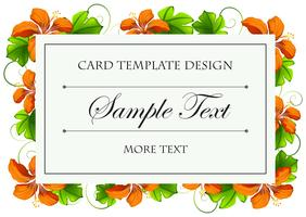 Card template with orange flowers