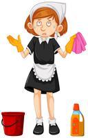 Limpiador femenino con equipos de limpieza.