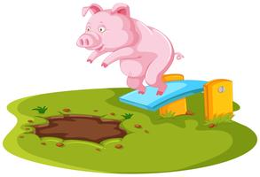 Pig jumping in muddy puddle vector