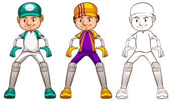 Jugador de críquet en tres estilos diferentes de dibujo.