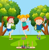 children playing ring toss scene vector