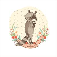 Vector illustration of cute raccoon.