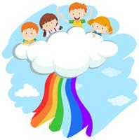 Children and colorful rainbow
