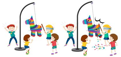 Children hitting pinata game