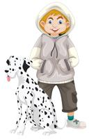 Teenage boy with pet dog