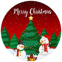 Red merry christmas card vector