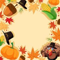 Autumn turkey border template vector