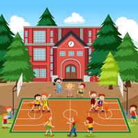 Children playing basketball scene