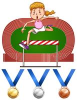 Girl doing hurdles run and medals