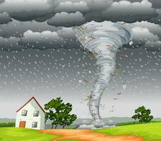 Scena del paesaggio di tornado distruttivo