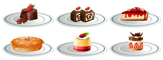 Different kinds of desserts on plates
