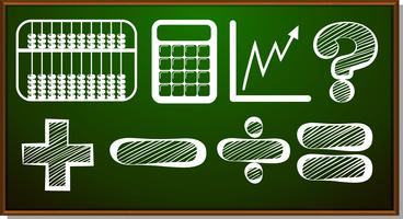 Math symbols on blackboard