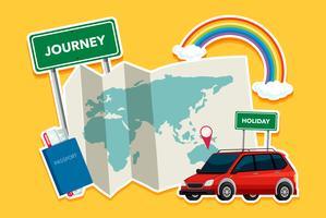 Reiseelement auf gelbem Hintergrund