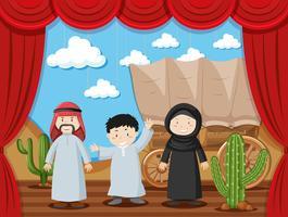 Família árabe no palco