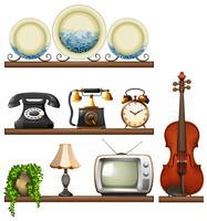 Colección vintage con dispositivos de entretenimiento.