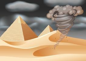 Tornado na cena do deserto