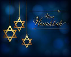 Card template for hanukkah with star ornaments