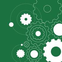 Background design with white gears on green vector