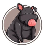 Black pig on circle template