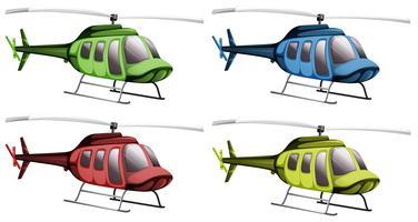 Helikopters in vier verschillende kleuren