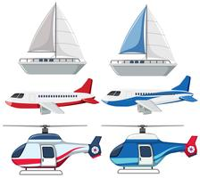 Set of transportation on white background vector