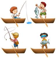 People in rowboat fishing vector