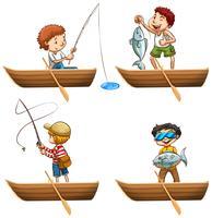 Pessoas, em, barco a remos, pesca