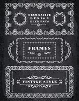 Conjunto de quadros Vintage retrô e bordas. Fundo de quadro de giz