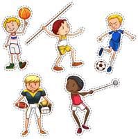 Conjunto de adesivos de pessoas fazendo esportes