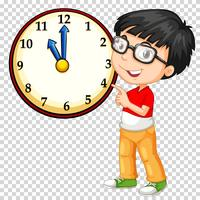 Boy looking at clock on transparent background