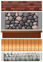 Nahtloses Zaundesign mit Steinen und Holz