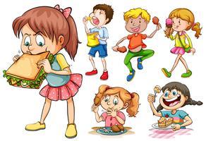 Meninos e meninas comendo diferentes tipos de comida
