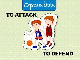 Opposite words for attack and defend